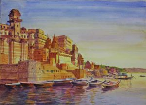 Varanasi;Watercolour on acid free paper;Size – 18 X 12 inches