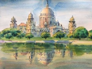 Victoria Memorial;20 mins watercolour sketch;Size – 18 X 12 inches