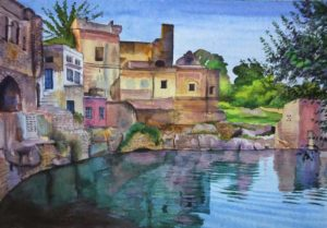 Ruins reflection;Watercolour on acid free paper;Size – 18 X 12 inches