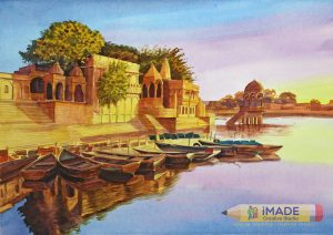 Gadisar lake;Watercolour on acid free paper;Size – 18 X 12 inches