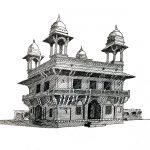 Monument rendering in pen; Fatehpur Sikri – Diwan-E-Khas