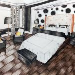 Bedroom rendering in pencil colour. Interior in perspective