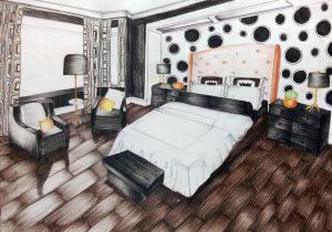 Bedroom rendering in pencil colour. Interior in perspective