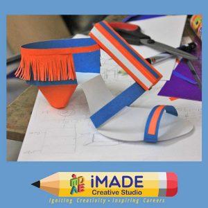 Designer sandal. Paper model making for NIFT Situation test and NID DAT Mains test.