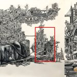Title: Untruth Memory; Pen and ink wash drawing;Size : 27 X 39 inch