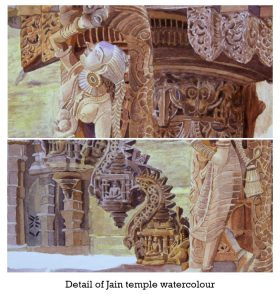 Indian Temple sculpture watercolour; Hyper Realistic watercolour; Size : 30 X 40 cm