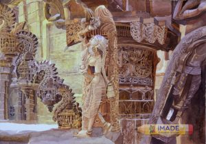 Indian Temple sculpture watercolour;Hyper Realistic watercolour;Size : 30 X 40 cm