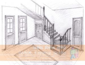 Staircase drawing in perspective.