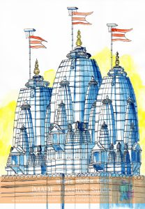 NATA drawing sample. Temple composition in 3 colours.
