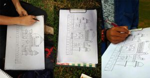 iMADE students outdoor trip for studying monuments, scale and proportion, 2D and 3D, Perspective