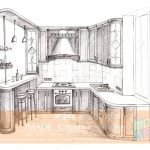NATA drawing solution. Kitchen drawing in One point perspective.