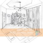 NATA solution of drawings. Study room in 2 point perspective