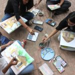 iMADE's visit to Craft Museum, Delhi. Live sketching and colouring classes and craft study.