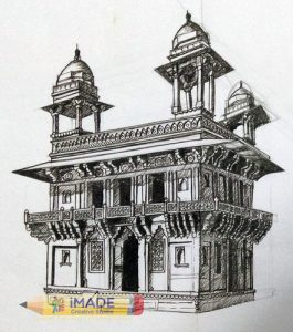 indian-monument-drawing-two-point-perspective