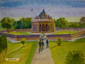 lodhi-garden-monument-watercolour-painting